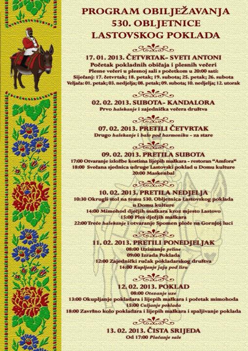 The 2013 Lastovo Carnival Programme